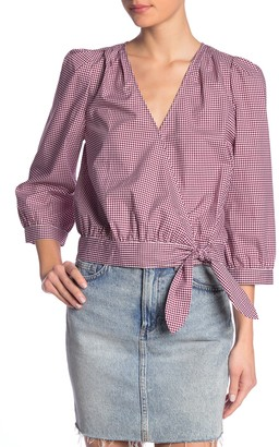 Madewell Gingham 3/4 Length Sleeve Wrap Top