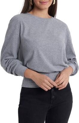 1 STATE Smocked Waist Blouson Long Sleeve Top