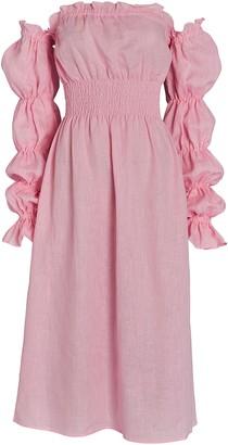Sleeper Michelin Smocked Linen Midi Dress