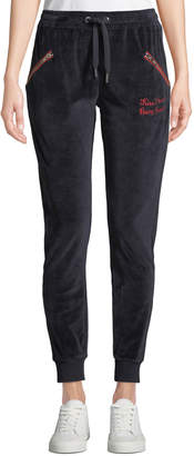 Zoe Karssen Embroidered Velour Jogger Sweatpants
