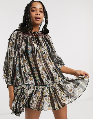 Free People dance magic printed mini dress