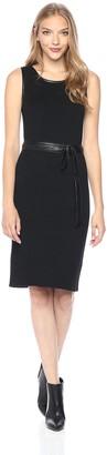 Jones New York Women's Rib Knit Dress W/Leather Belt