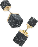 Macy's Inspired Life Gold-Tone Black Stone Cube Front and Back Earrings