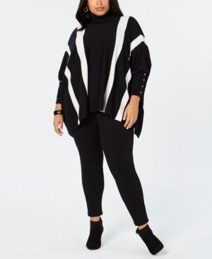 Alfani Plus Size Striped Poncho Sweater, Created for Macy's