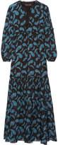 Rachel Zoe Victoria Printed Silk-chiffon Maxi Dress - Navy
