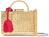 Mark Cross Grace Mini Croc-effect Gold-plated Shoulder Bag - one size