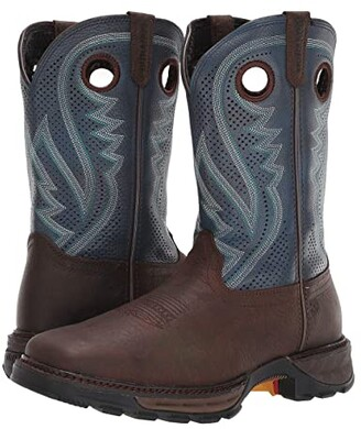 Durango Maverick XPtm Ventilated Western Work Boot (Dark Brown/Navy Denim) Men's Shoes