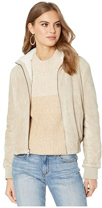 Cupcakes And Cashmere Kendal Reversible Faux Suede w/ Sherpa Flight Jacket (Cafe Au Lait) Women's Coat