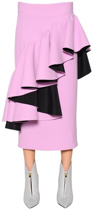 Marni Ruffled Cotton Viscose Crepe Skirt