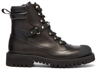 Valentino Rockstud Leather Boots - Black
