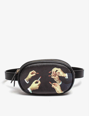 Seletti wears TOILETPAPER Lipstick faux-leather belt bag