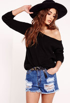 Missguided Off Shoulder Knit Sweater Black