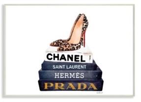 "Stupell Industries Glam Fashion Book Set Leopard Pumps Heels Wall Plaque Art, 10"" x 15"""