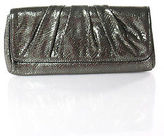 Lauren Merkin Gray Metallic Snakeskin Print Ruched Medium Clutch Handbag