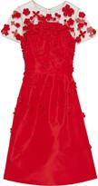 Thumbnail for your product : Oscar de la Renta Floral-appliqued Tulle-paneled Silk-faille Dress
