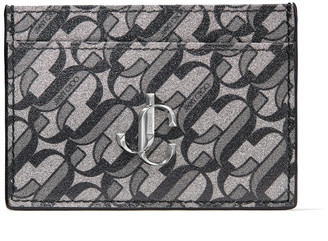 Jimmy Choo UMIKA Black and Silver JC Monogram Print Glitter Leather Card Holder