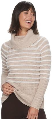 Elle Women's Eyelash Stripe Cowlneck Sweater