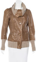 Mackage Leather Wool-Trimmed Jacket