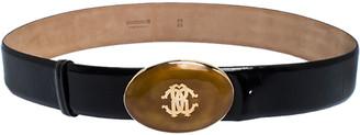 Roberto Cavalli Black Cracked Patent Leather Resin Buckle Belt 95CM