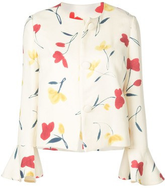 Oscar de la Renta Poppies Print Jacket