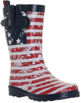 Navy & Red American Flat Gusset Side-Buckle Rain Boot