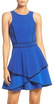 Adelyn Rae Piped Crepe Fit & Flare Dress
