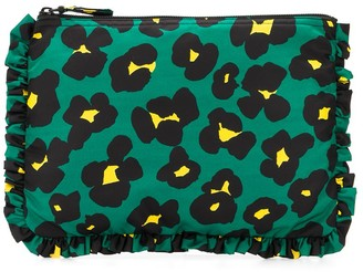 La DoubleJ Leopard Print Zipped Clutch