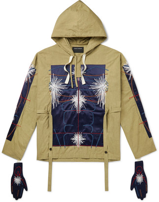 Craig Green Embroidered Satin-Panelled Cotton-Canvas Hoodie