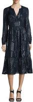 MICHAEL Michael Kors Long-Sleeve Metallic Jacquard Dress, New Navy