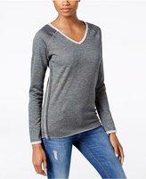 KUT from the Kloth Exposed-Seam V-Neck Sweatshirt