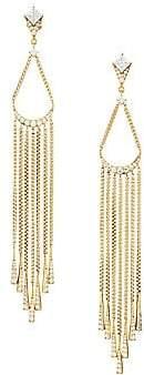 Adriana Orsini Women's Gia 18K Yellow Goldplated & Cubic Zirconia Chain Fringe Earrings