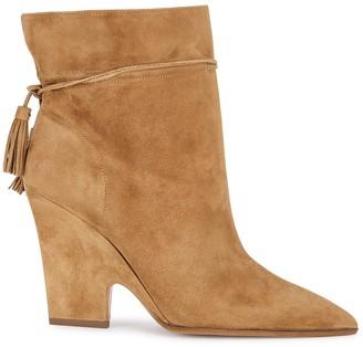 Aquazzura Sartorial 95 brown suede ankle boots