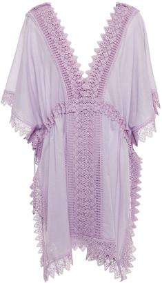Charo Ruiz Ibiza Alaya Crocheted Lace-paneled Cotton-blend Voile Coverup