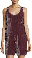 See by Chloe Beaded Velvet Sleeveless Short Jumpsuit, Purple
