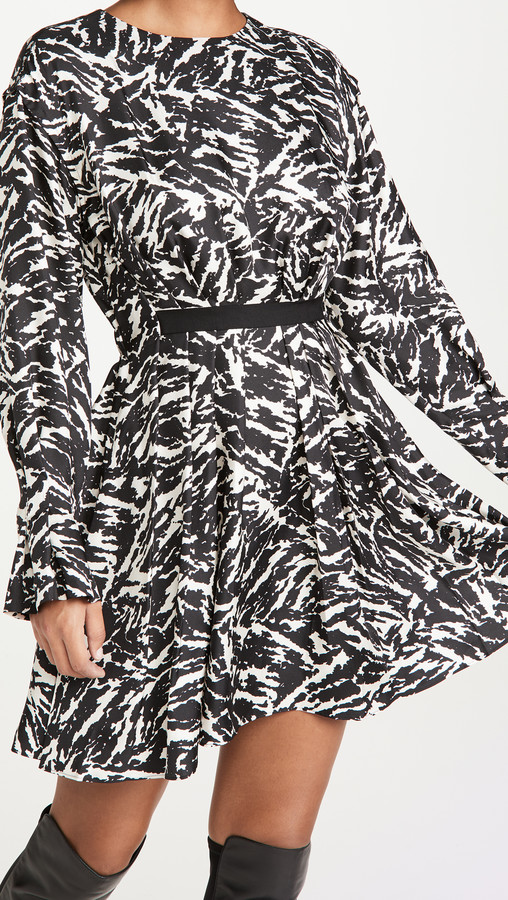 Jason Wu Long Sleeve Crew Neck Zebra Print Dress
