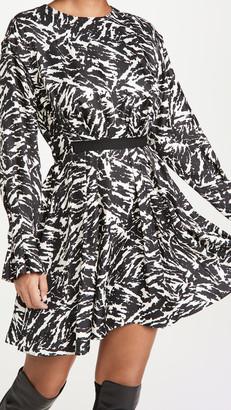 Jason Wu Long Sleeve Crew Neck Zebra Print Dress