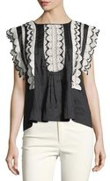 Isabel Marant Nandy Crocheted Lace Tunic Top, Black