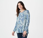 Logo By Lori Goldstein LOGO by Lori Goldstein Print Rayon 230 Top with Sleeve Detail