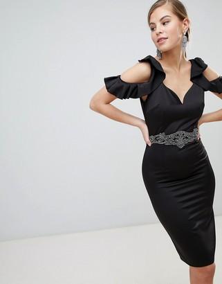 Little Mistress Cold Shoulder Pencil Dress With Embellished Waist Detail-Black