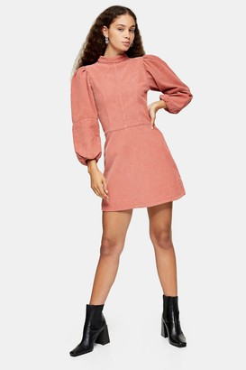 Topshop Womens Pink Denim Corduroy Babydoll Dress - Pink