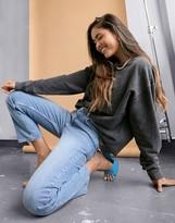 ASOS DESIGN high rise stretch 'slim' straight leg jeans in vintage lightwash
