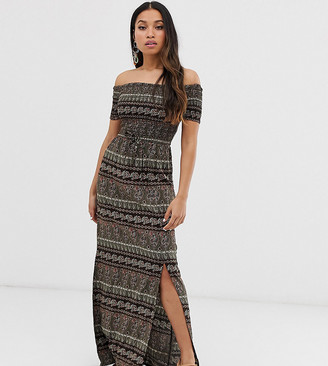 Brave Soul Petite juliet off shoulder maxi dress in paisley mix-Black