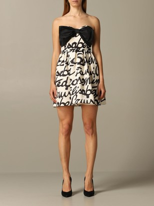 Elisabetta Franchi Decolleteacute; Dress With Bow And Logoed Skirt