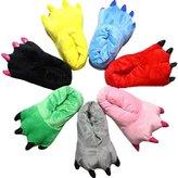 AIZHE Fluffy Unisex 3D Animal Dinosaur Cartoon Winter Plush Paw Slippers