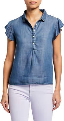 Frame Spread-Collar Flounce Cap-Sleeve Chambray Shirt