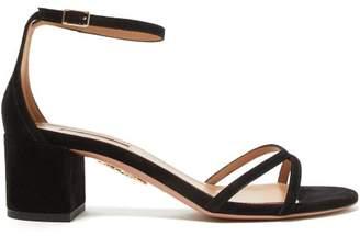 Aquazzura Purist 50 Block-heel Suede Sandals - Womens - Black