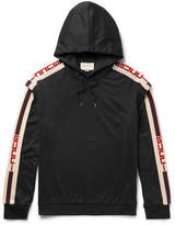 Gucci - Webbing-Trimmed Tech-Jersey Hoodie