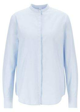 BOSS Relaxed-fit blouse in cotton with roll-up sleeves