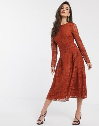 Asos Design DESIGN long sleeve prom dress in lace with circle trim details-Orange