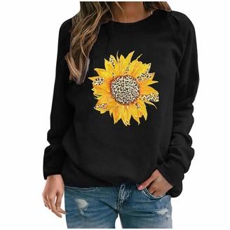 Jiegorge Woman Blouse Womens Casual Hoodies Jumper Tops Ladies Sunflower Print Sweatshirt Blouse Tee